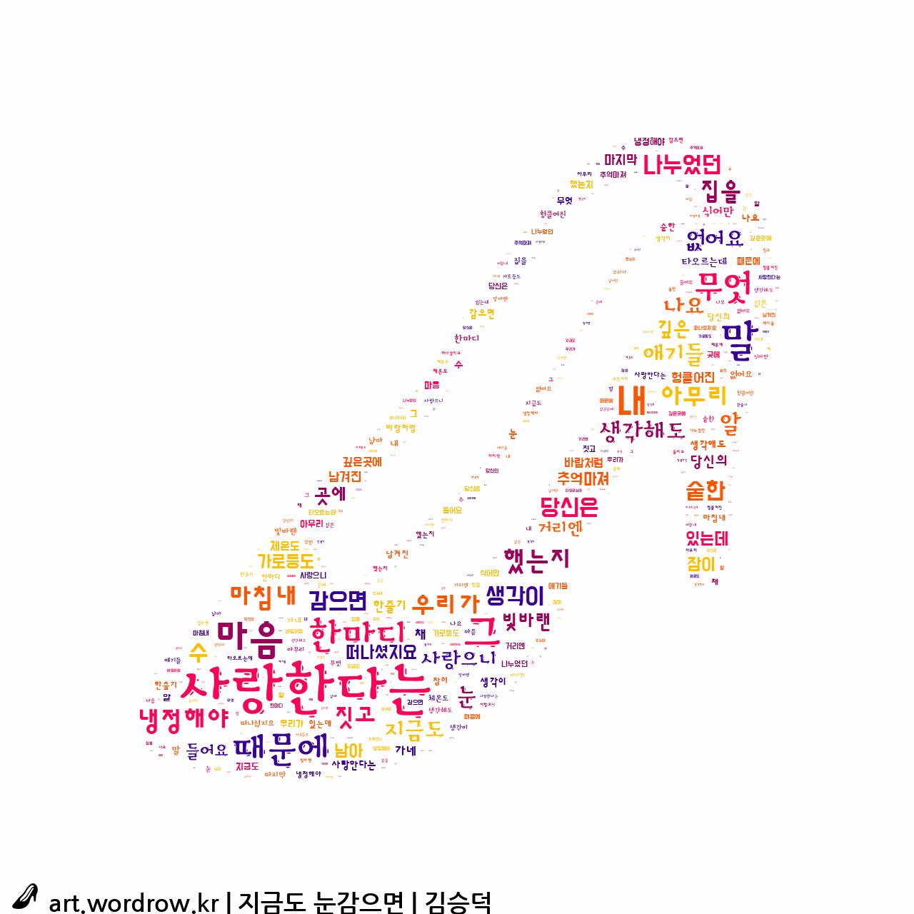워드 클라우드: 지금도 눈감으면 [김승덕]-23